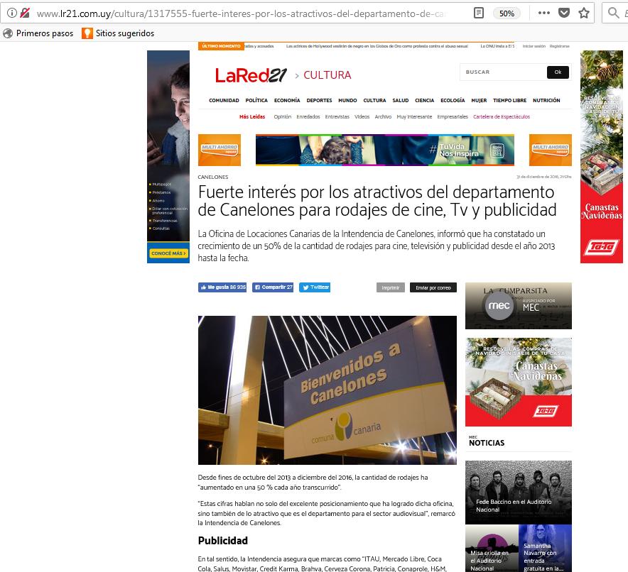 Nota sobre Locaciones Canarias en el diario La República 2017